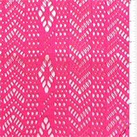 Neon Pink Chevron/Stripe Stretch Lace