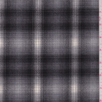 *3 YD PC--Sterling/Black Plaid Wool Suiting