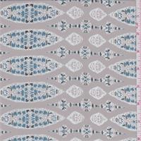 Hazelnut Beige/Wedgewood Medallion Stripe Chiffon