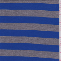 Cobalt/Grey Stripe Rayon Jersey Knit
