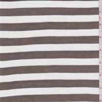 Cocoa/White Stripe Rayon Jersey Knit