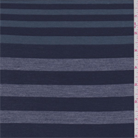 Navy/Jade/Grey Stripe Rayon Jersey Knit