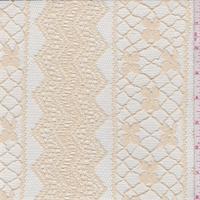 Creamy Beige Stripe Embroidered Lace