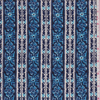 Deep Blue/Beige Floral Wallpaper Stripe Crepe