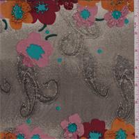 Grey Mottled Multi Floral Silk Crepe de Chine