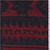 *1 3/8 YD PC--Red/Black Boiled Wool Coating