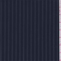 *2 YD PC--Navy/White Triple Stripe Poly Blend Suiting