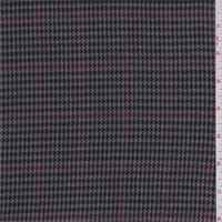 *2 YD PC--Grey/Black/Berry Houndstooth Plaid Polyester Suiting
