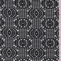 Black Circle Crochet Stretch Lace