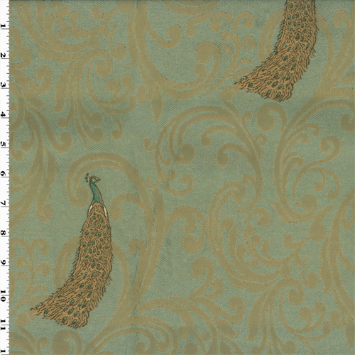 Teal Beige Peacock Jacquard Home Decorating Fabric