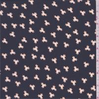 *3 1/2 YD PC--Slate/Beige Starburst Crepe de Chine