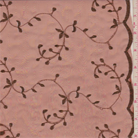 Orange Copper Vine Embroidered Organza