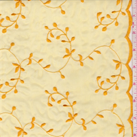 Deep Yellow Gold Vine Embroidered Organza