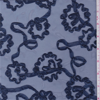 Navy Blue Ribbon Floral Embroidered Organza