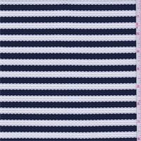 Dark Blue/White Stripe Pique Knit
