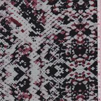 Pearl Blue/Black Snakeskin Print Double Knit