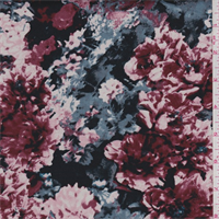 *3 3/8 YD PC--Black/Red Floral Stretch Sateen