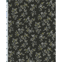 *3 3/4 YD PC--Gray/Yellow Green Japanese Rose Vine Print Lawn