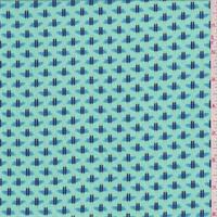 *1 YD PC--Aqua Green/Sky Blue Printed Twill Challis