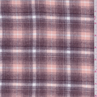 *1 1/4 YD PC--Burgundy/Peach Shadow Plaid Shirting