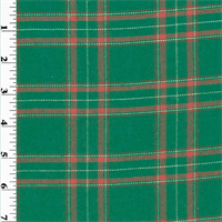 *3 1/2 YD PC--Green/Pink Wool Plaid Flannel Shirting
