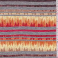 *2 YD PC--Red/Brown Flamestitch Stripe Sweater Knit
