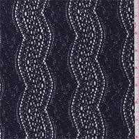 Ink Blue Zig Zag Stretch Lace