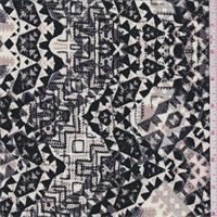 Black/Beige/Ivory Medallion Jersey Knit