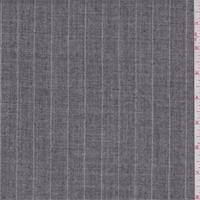 *1 5/8 YD PC--Heather Grey Stripe Wool Suiting