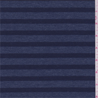 *3 YD PC--Heather Blue/Navy Stripe French Terry Knit