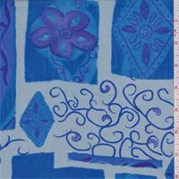 *2 3/4 YD PC--Turquoise/Aqua Floral Block Print Georgette
