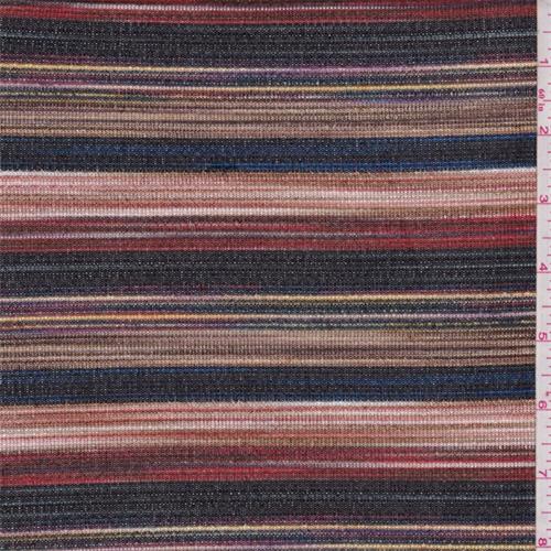 Brown Multi Stripe Fine Sweater Knit