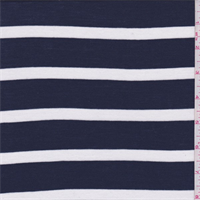 Dark Blue/White Stripe Rayon Jersey Knit