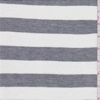 White/Grey Stripe Rayon Jersey Knit