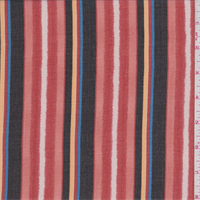 Red/Black/Blush Stripe Chiffon
