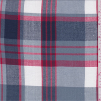 *2 5/8 YD PC--Steel Blue/Red Plaid Polyester Suiting
