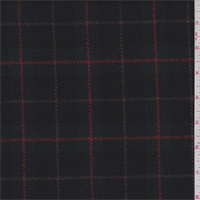 Black/Spruce Plaid Wool Suiting
