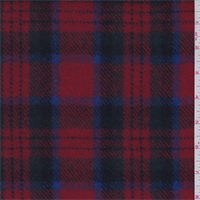 Red/Black Multi Plaid Melton Wool Coating