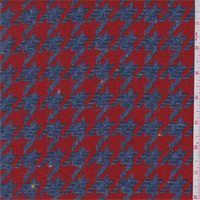 Denim Blue/Red Houndstooth Wool Coating