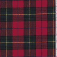 Bright Red Plaid Wool Flannel Suiting