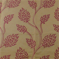 Valdese Weavers Beige/Red Leaf Jacquard  Decorating Fabric