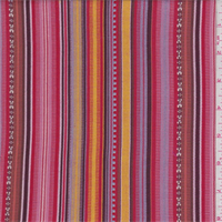 *3 3/8 YD PC--Pink/Red/Orange Stripe Tapestry Look