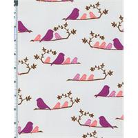*1 1/4 YD PC--Grey/Fuchsia Valori Wells Wrenly Mamma Birds Print Cotton