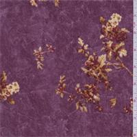 Dark Mauve Cluster Print Panne Velour