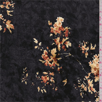 Black Cluster Print Panne Velour