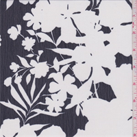 Dark Navy/White Tropical Floral Crinkled Chiffon