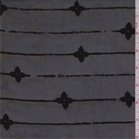 Black Flocked Floral Stripe Chiffon
