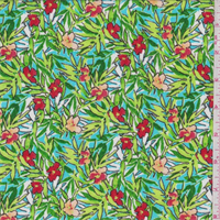 Turquoise Tropical Floral Print Rayon Crepon