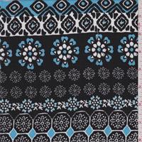 Black/Aqua Herringbone Print Rayon Challis