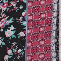 Black Multi Floral Stripe Rayon Challis